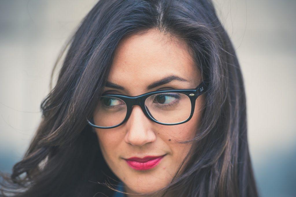 beautiful woman with mole on cheek